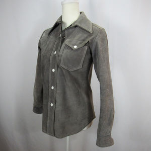 Gray Leather Suede Snap Button Down Coat Jacket